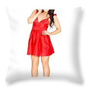 Elegant Woman Full Body Portrait Isolated On White Throw Pillow