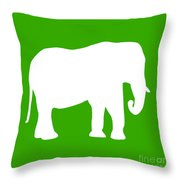 Elephant In Green And White Throw Pillow