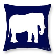 Elephant In Navy And White Throw Pillow