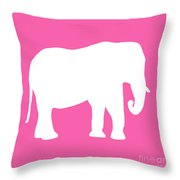 Elephant In Pink And White Throw Pillow