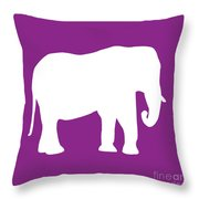 Elephant In Purple And White Throw Pillow