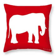 Elephant In Red And White Throw Pillow