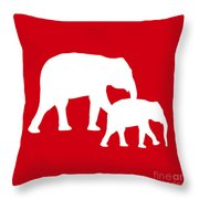 Elephants In Red And White Throw Pillow