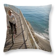 Elevated Perspective Of Woman Riding Throw Pillow