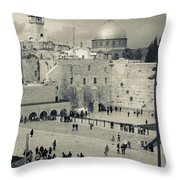 Elevated View Of The Western Wall Throw Pillow