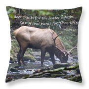 Elk Drinking Water From A Stream Throw Pillow