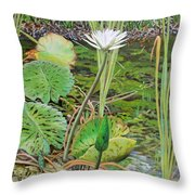 Emerald Lily Pond Throw Pillow