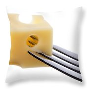 Emmental Cheese On Fork Against White Background Throw Pillow