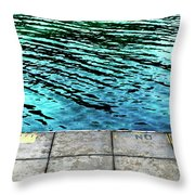Empty Pier And River Water Throw Pillow