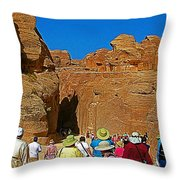 Entering Mile-long And 600 Foot High Gorge Leading To Treasury In Petra-jordan  Throw Pillow