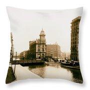 Erie Canal On Salina Street In Syracuse New York - Circa 1904 Throw Pillow