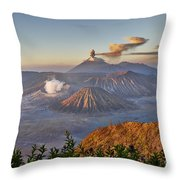 eruption at Gunung Bromo Throw Pillow