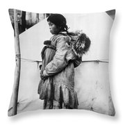 Eskimo Woman And Child Throw Pillow