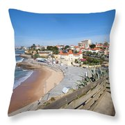 Estoril Beach In Portugal Throw Pillow