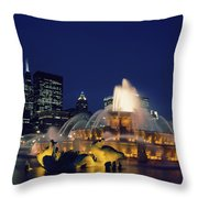 Evening At Buckingham Fountain - Chicago Throw Pillow