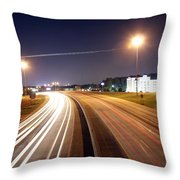 Evening Traffic On Highway Throw Pillow