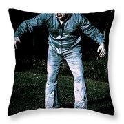 Evil Dead Horror Zombie Walking Undead In Cemetery Throw Pillow