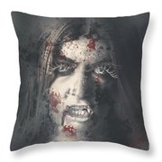 Evil Dead Vampire Woman Looking In Bloody Window Throw Pillow