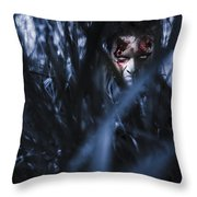 Evil Man Hiding In Silence At Dark Forest  Throw Pillow
