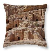 facade street in Nabataean ancient town Petra Throw Pillow by Juergen Ritterbach
