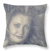 Face Of Beautiful Woman In Makeup Close-up Throw Pillow