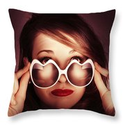 Face Of Cool Fashion Woman In Retro Summer Love Throw Pillow