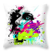 Face Paint 2 Throw Pillow by Jeremy Scott
