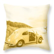Faded Film Surfing Memories Throw Pillow
