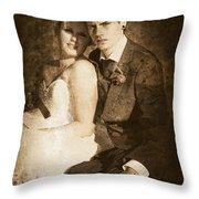 Faded Vintage Wedding Photograph Throw Pillow