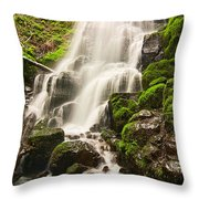 Fairy Falls In The Columbia River Gorge Area Of Oregon Throw Pillow
