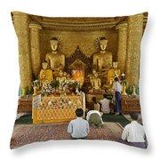 faithful Buddhists praying at Buddha Statues in SHWEDAGON PAGODA Throw Pillow