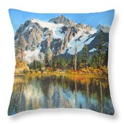 Fall Reflections - Cascade Mountains Throw Pillow