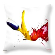 Falling Glasses Of Paint Throw Pillow