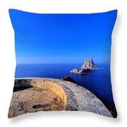 Famous Tower Of Savinar On Ibiza Island Throw Pillow