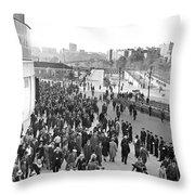 Fans Leaving Yankee Stadium. Throw Pillow