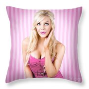 Fantastic Blond Pinup Girl With Surprised Look Throw Pillow