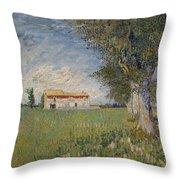 Farmhouse In A Wheat Field Throw Pillow