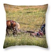 Farming With Horses Throw Pillow