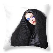Fashion Model In Black Throw Pillow
