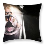 Fast Business Woman Driving Car With Light Trails Throw Pillow