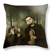 Father And Son In Gasmask. Nuclear Terror Attack Throw Pillow