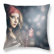Female Fashion Model Holding Jewelry Necklace Throw Pillow