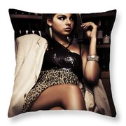 Female Mobster Seated At Dark Bar Throw Pillow