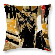 Female Soldier With Mexican Flag  Unknown Location C. 1914-2014 Throw Pillow