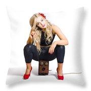 Female Telephone Exchange Operator On White Throw Pillow