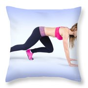 Female Track And Field Athlete Preparing To Run Throw Pillow