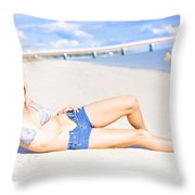Female Vacationer Relaxing At Tropical Paradise Throw Pillow
