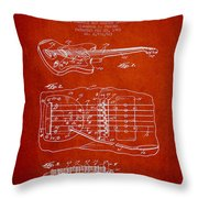 Fender Floating Tremolo Patent Drawing From 1961 - Red Throw Pillow