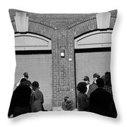 Fenway Park - Fans And Locked Gate Throw Pillow
