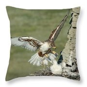 Ferruginous Hawk And Chicks Throw Pillow